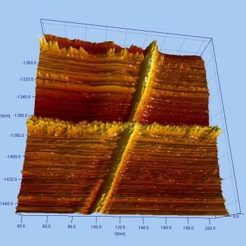 3D СТМ изображение двух пересекающихся нанотрубок. Размер скана 168*1168 нм